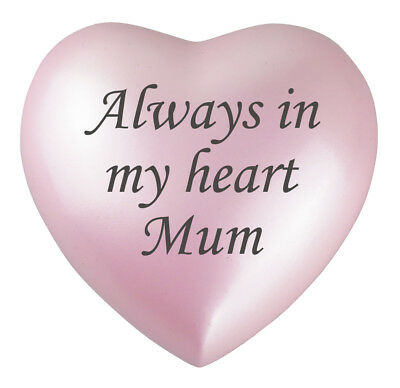 Always In My Heart Mum Heart Pink Urn Keepsake for Ashes Cremation Cremains