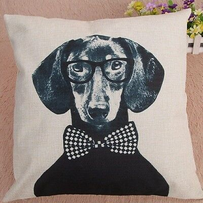 Dachshund Dog With  Bow Tie Cushion Cover. Fashion Linen Pillow Cover Vintage