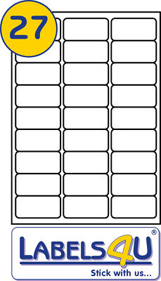 A4 White STICKY Address Labels 100 Sheets of 27 Labels Per Sheet 63.5x29.6mm