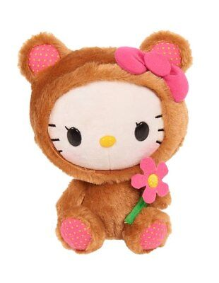 """Hello Kitty """"10 Poseable Plush Brown Hooded By Sanrio"""