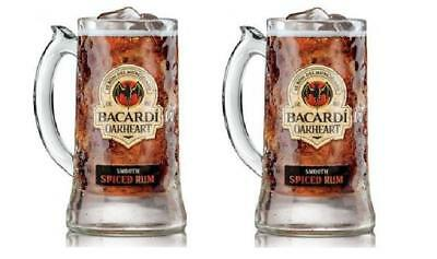 Bacardi Oakheart Smooth Rum Beer Mug Heavy Glass Drinking Stein 12 oz Set of 2