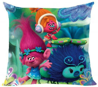 Personalised Embroidered Trolls DreamWorks Kids Girls Character Cushion Cover