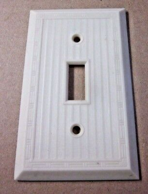 1 Vintage Antique Art Deco Ribbed Dashed Beige Bakelite Switch Plate Wall Cover