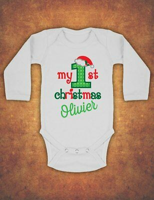 Personalised My First 1st Christmas Xmas  Baby Kids Body Suit Vest  longsleeve