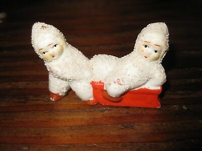 Vintage Antique Miniature Snow Babies with sled Japan 2.5 ""