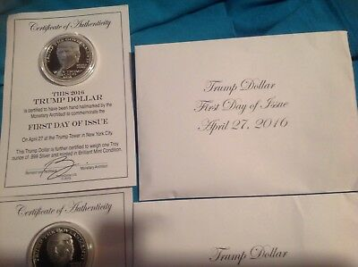 2016 Trump Dollar First Day Of Issue Silver Coin