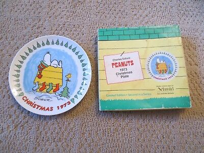 Peanuts 1973 Schmid Christmas Collectors Plate Snoopy Woodstock Doghouse Orig Bx