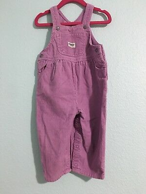 Vintage Corduroy Purple Girls Oshkosh Jumper Overalls Outfit Toddler Size 18M