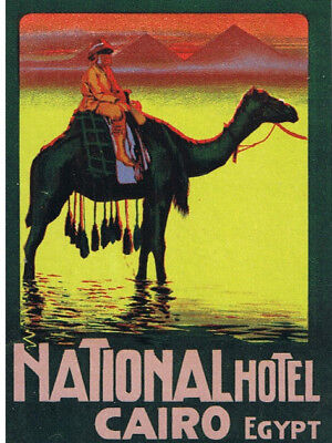 Vintage Luggage Label Circ 1912 - National Hotel, Cairo, Egypt