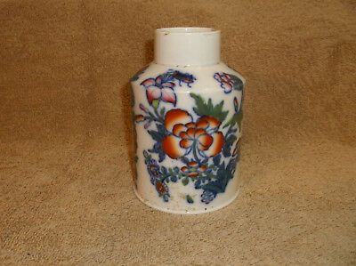 Rare  Free hand painted Pearlware Polychrome tea caddy-- Staffordshire