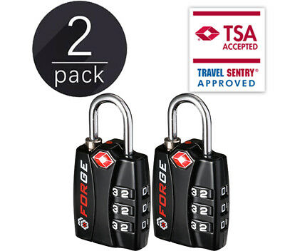 Forge TSA Locks 2 Pack - Open Alert Indicator, Alloy Body, 3 Digit Combination