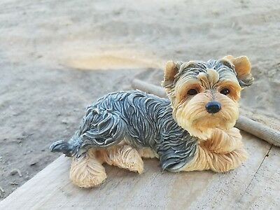 Yorkshire Terrier Lying Down Puppy Dog Figurine Statue Resin Pet Canine Yorkie