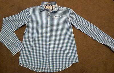 Trendy Mens Penguin shirt size small blue and white cotton 40 chest