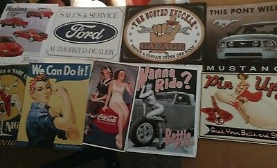 """FORD Mustang with Pin-Up Tin Signs 16"""" x 12"""" 9 Total Signs"""