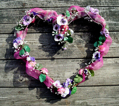 """Heart Shaped Grapevine Wreath with Flowers, Greenery & Ribbon 19"""" X 19"""""""