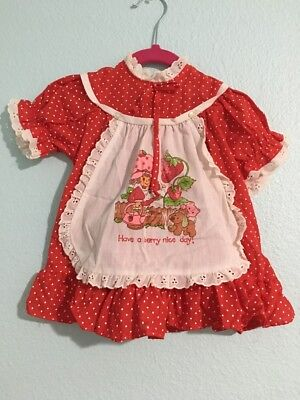 1980's Petite Frocks Group Strawberry Shortcake Red Dress  Sz 12 Months