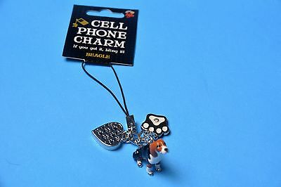 Little gifts Beagle, Cell Phone Charm, enamel with 2 charms, paw print,heart