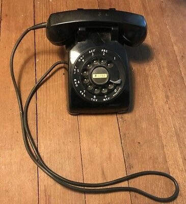 Vintage Telephone Desk Phone Western Electric Bell Made Usa Black Rotary 'as Is'