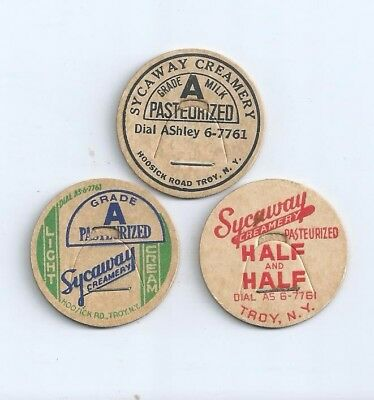 "Three different ""Sycaway Creamery""   Troy, N.Y. milk bottle caps."