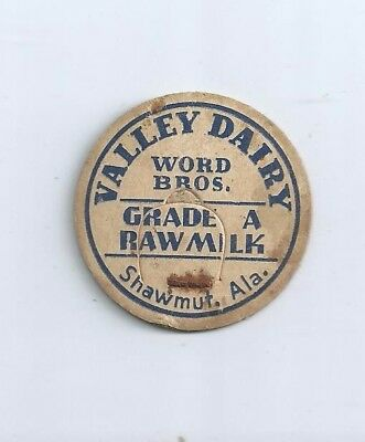"""Valley Dairy""   Word. Bros.:  Shawmut, Ala.  milk bottle cap."