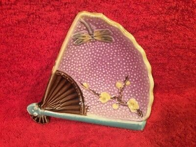 Antique Majolica Purple Fan & Flowers & Dragonfly dish c.1800's, em147