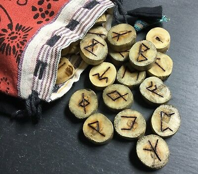 Anglo Saxon Wooden Runes With Pouch 33 Pieces Info Sheet Divination