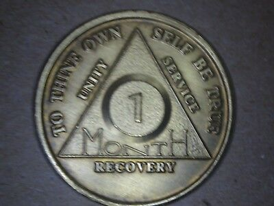 Alcoholics Anonymous AA - 1 Month 30 Days Chip Medal Bronze