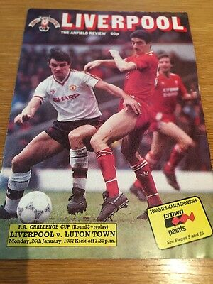 Liverpool V Luton Town - FA Cup 3rd Round Replay 86-87 Programme