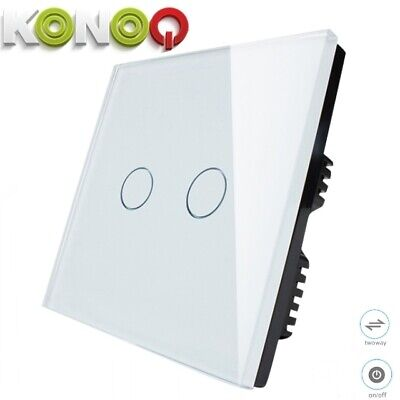 KONOQ+ Luxury Glass Panel Touch LED Light Wall Switch : ON/OFF, White,2Gang/2Way