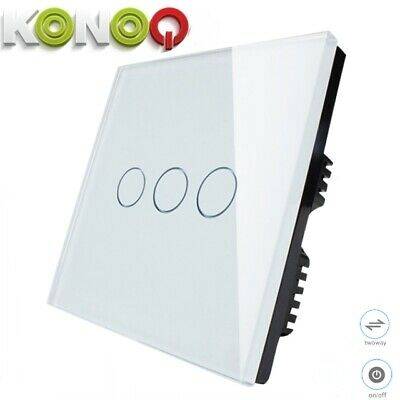 KONOQ+ Luxury Glass Panel Touch LED Light Wall Switch : ON/OFF, White,3Gang/2Way