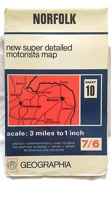"""NORFOLK; GEOGRAPHIA, Sheet 10, New Super Detailed Motorists Map, 3miles to 1"""""""
