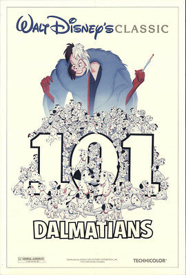 101 Dalmatians 1991 27x41 Orig Movie Poster FFF-22704 Rolled Rod Taylor Disney
