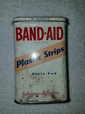 Vintage Johnson and Johnson Band-Aid Tin Box Container Plastic Plastic Strips