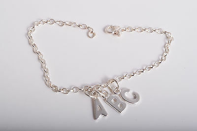 Sterling Silver Personalised Triple Initial Charm Ankle Chain Bracelet Anklet