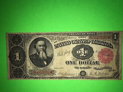 """1891 $1 One Dollar Large Size """"stanton"""" Treasury Coin Note - Rare"""