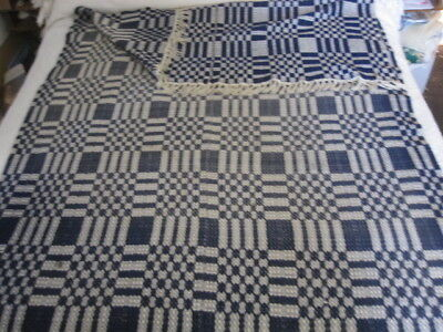 Antique Vintage Jacquard Blue White Coverlet Blanket Hand Woven  54X86""
