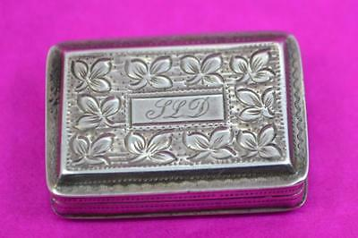 sterling silver vinaigrette chased engraved detail + sponge John Lawrence 1830