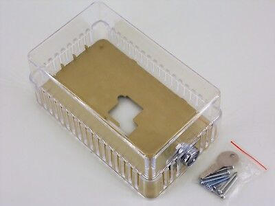 Universal Thermostat Guard, Clear Plastic, Locking Cover, Polystyrene, 13G329