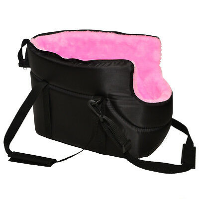 BLACK with PINK FUR CARRY BAG SHOULDER TRAVEL CARRIER DOG PUPPY CAT PET ANIMAL