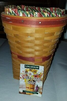 Longaberger Snapdragon Basket w Fabric Liner, 2 Piece Protector 1998 May Series