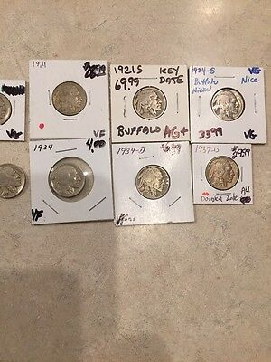 1919-1937 Key Date Buffalo Nickel Lot Nice Coins Free Ship USA (1671)