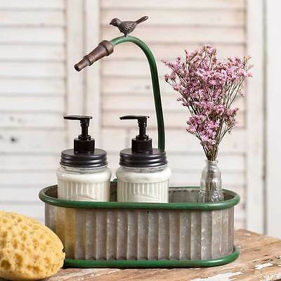 Small Corrugated Metal Vintage Style Garden Hose Oval Bathroom Accessories Caddy