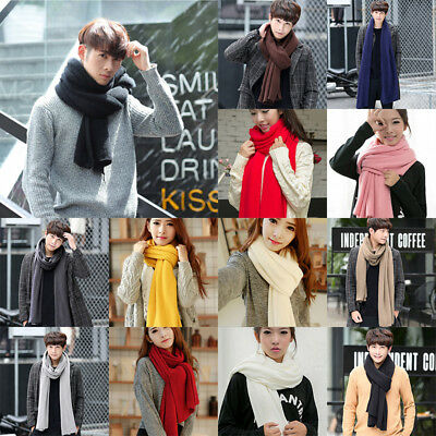 Fashion Solid Autumn Winter Cashmere Long Warm Scarf Wrap Mens Women Ladies Gift