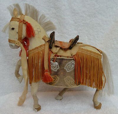 Antique Japanese Toy Samurai Horse / Doll & Stand / Good Condition