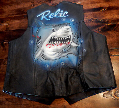 "Men's Leather Motorcycle Vest ""Air Brush Painted"" on Back XXL Shark / Relic"