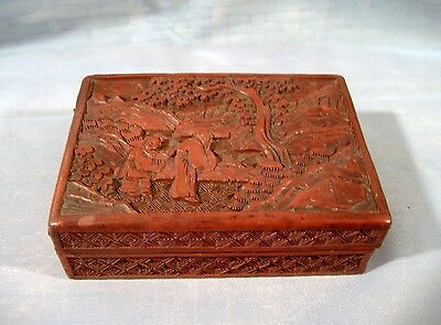 Antique Chinese Cinnabar Lacquer Box Carved Monks Landscape