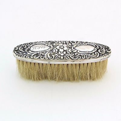 """Antique Sterling Silver Repousse Clothes Brush 4"""""""