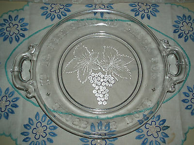 Antique EAPG Pressed Glass Victorian Era Motto Bread Plate Handles Grapes 1880s