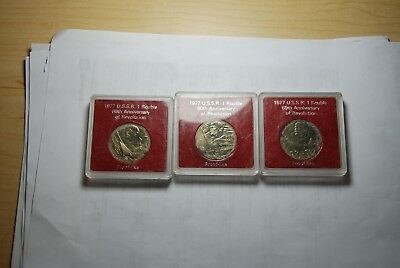 3 (3) 1977 USSR RUSSIA  1 ROUBLE 60th Ann. Revolution LENIN - PROOF LIKE Coins