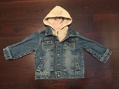 Adorable Jean Jacket Hoodie Size 24 Months By Green Dog